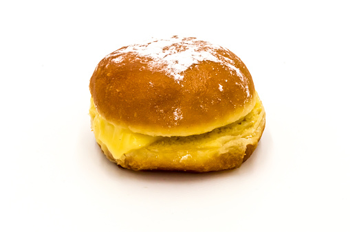 Bola de Berlim, or Berlin Ball, a Portuguese pastry made from a fried donut filled