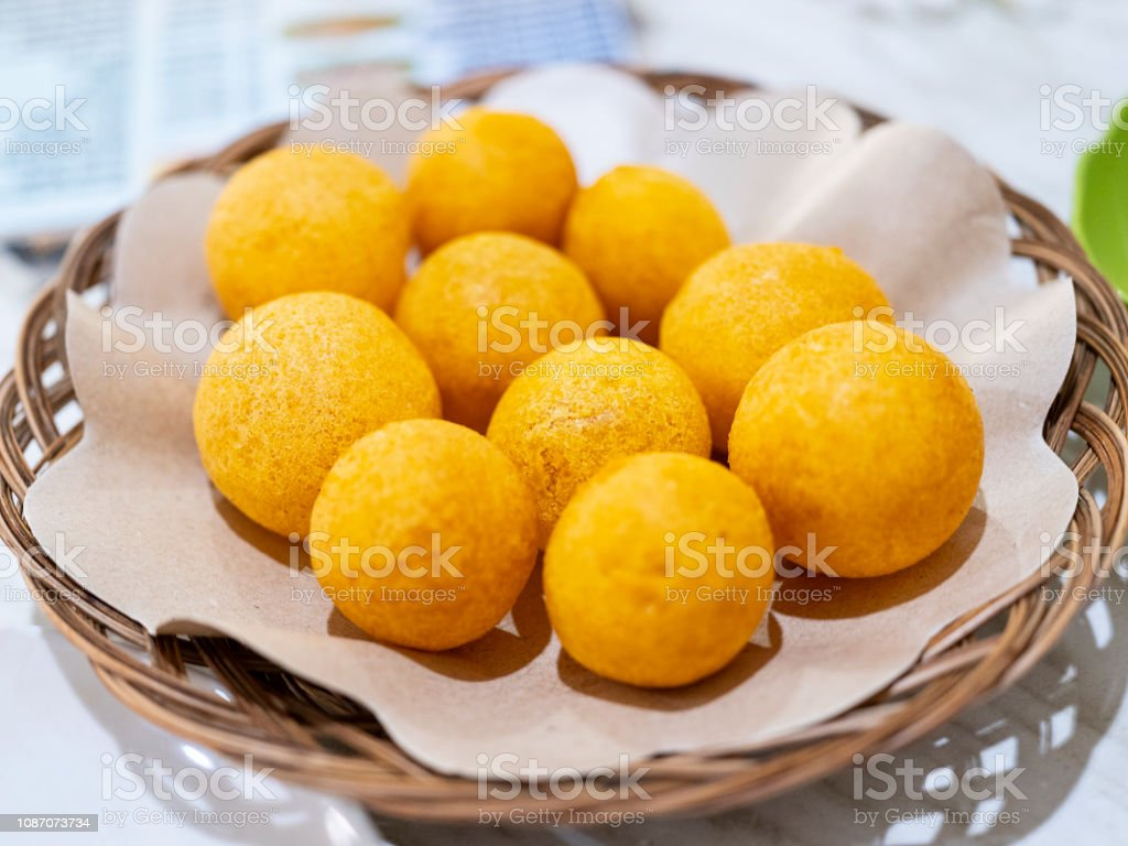 Bola Ubi Traditional food from Bandung, Indonesia. Asia Stock Photo