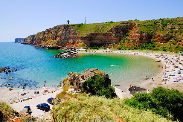 bolata bay bulgaria. panoramic image. - bulgarije stockfoto's en -beelden