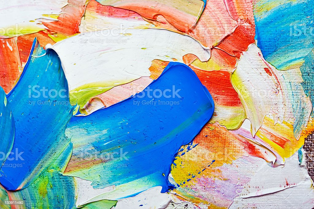 A bold colorful strokes of oil paints in canvas royalty-free stock photo
