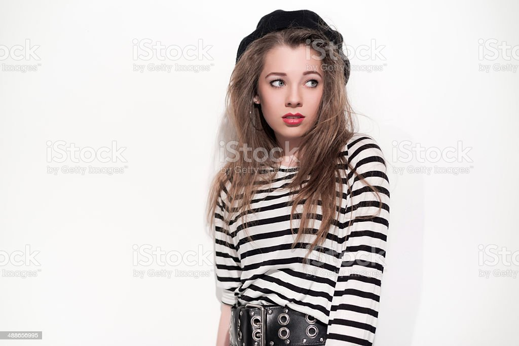 Bold eighties fashion girl in black and white. stock photo