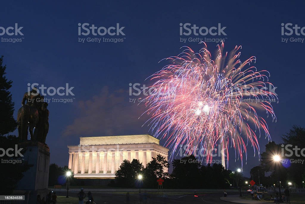 Bold fireworks, above the Lincoln Memorial in Washington, DC stock photo