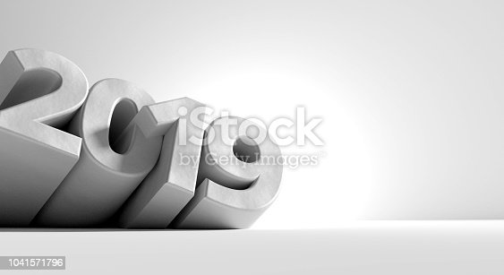 istock 2019 bold letters abstract creative design. new year Sylvester light grey background 3d-illustration 1041571796
