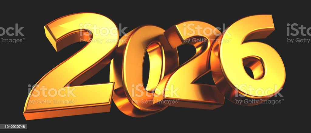 2026 bold letters isolated new year sylvester concept 3d-illustration