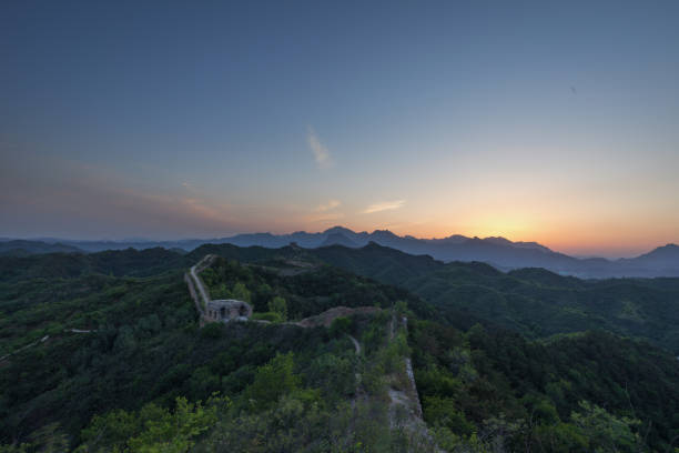 Bold sunset over Great Wall of China stock photo