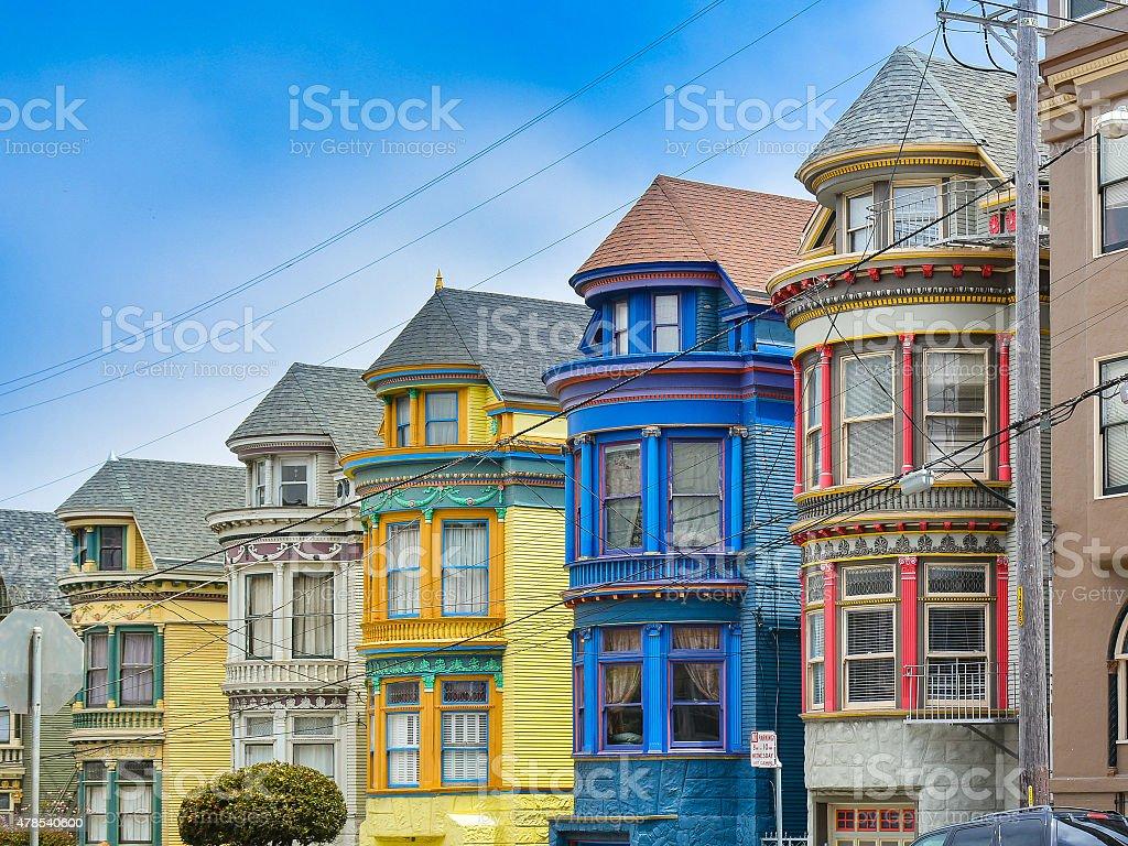 Bold-Colored Victorian Homes - San Francisco stock photo