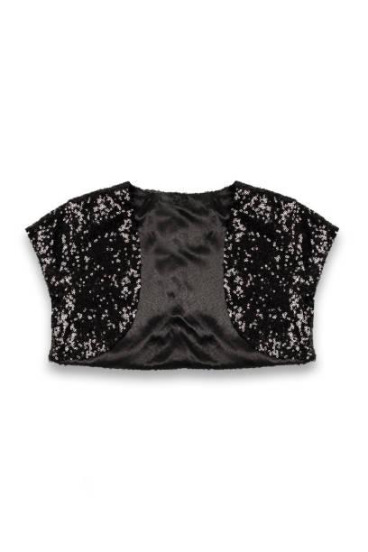 bolero-baby-jacke auf weißem hintergrund - pailletten shirt stock-fotos und bilder