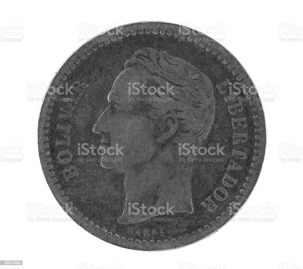 Bolivar on old silver coin from Venezuela stock photo