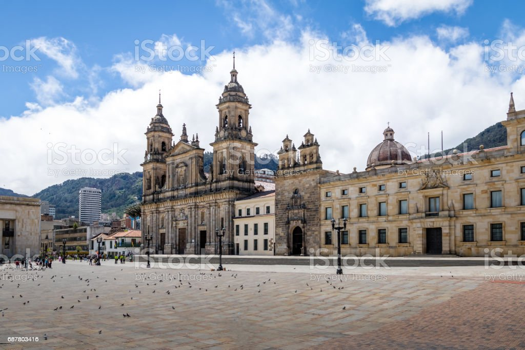 Bolivar Square and Cathedral - Bogota, Colombia stock photo