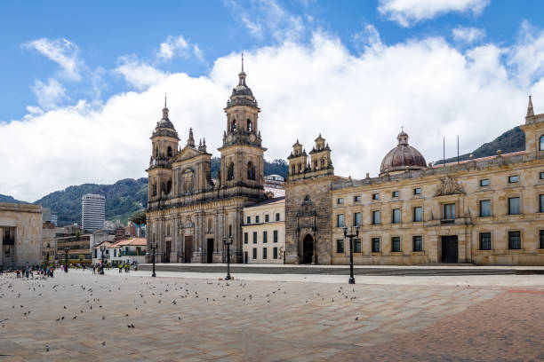 bolivar square and cathedral - bogota, colombia - colombia stock photos and pictures
