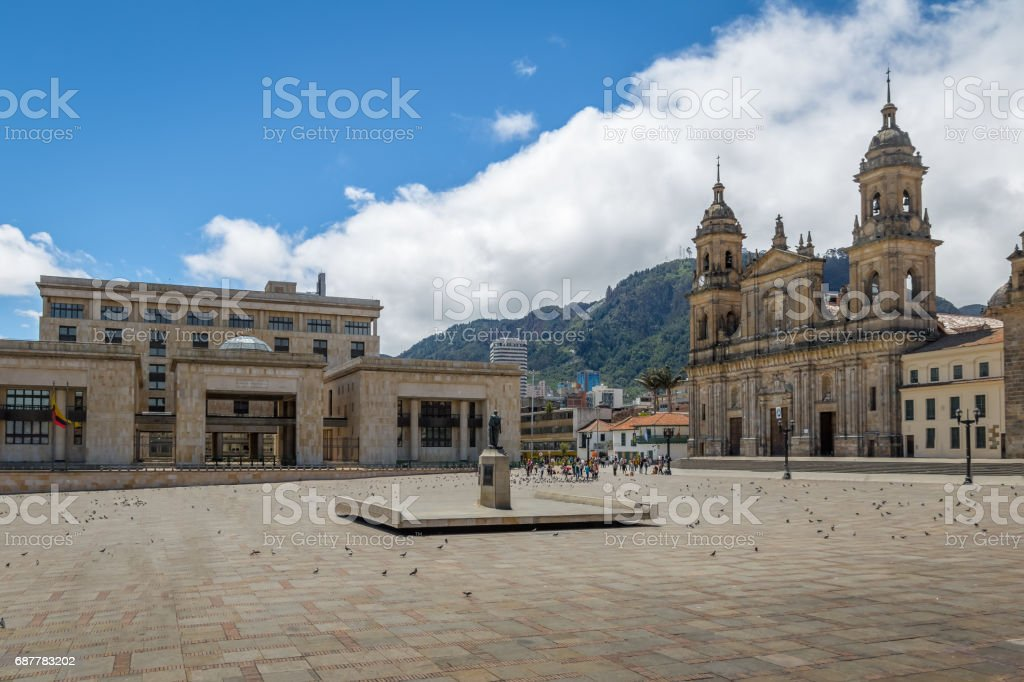 Bolivar Square with Cathedral and Colombian Palace of Justice - Bogota, Colombia stock photo