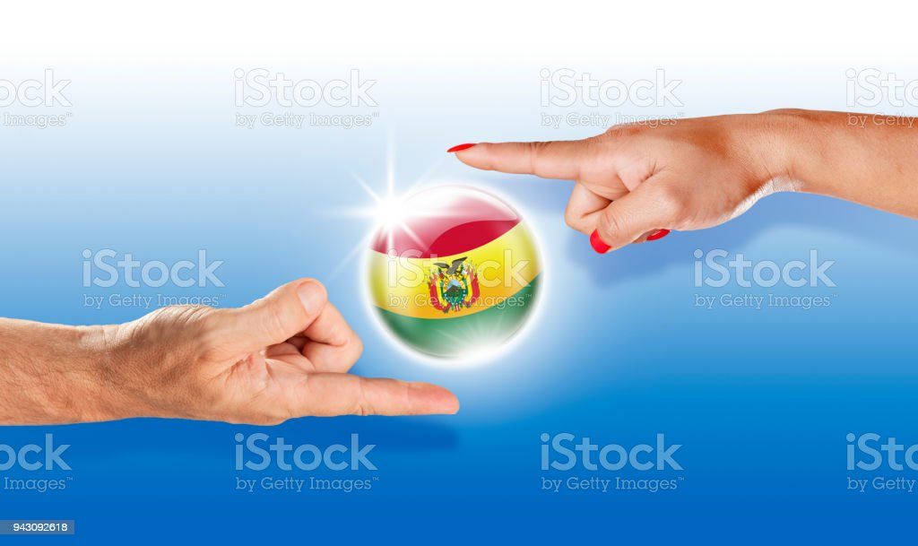 Bolivia button bolivian flag floating between with human hands stock photo