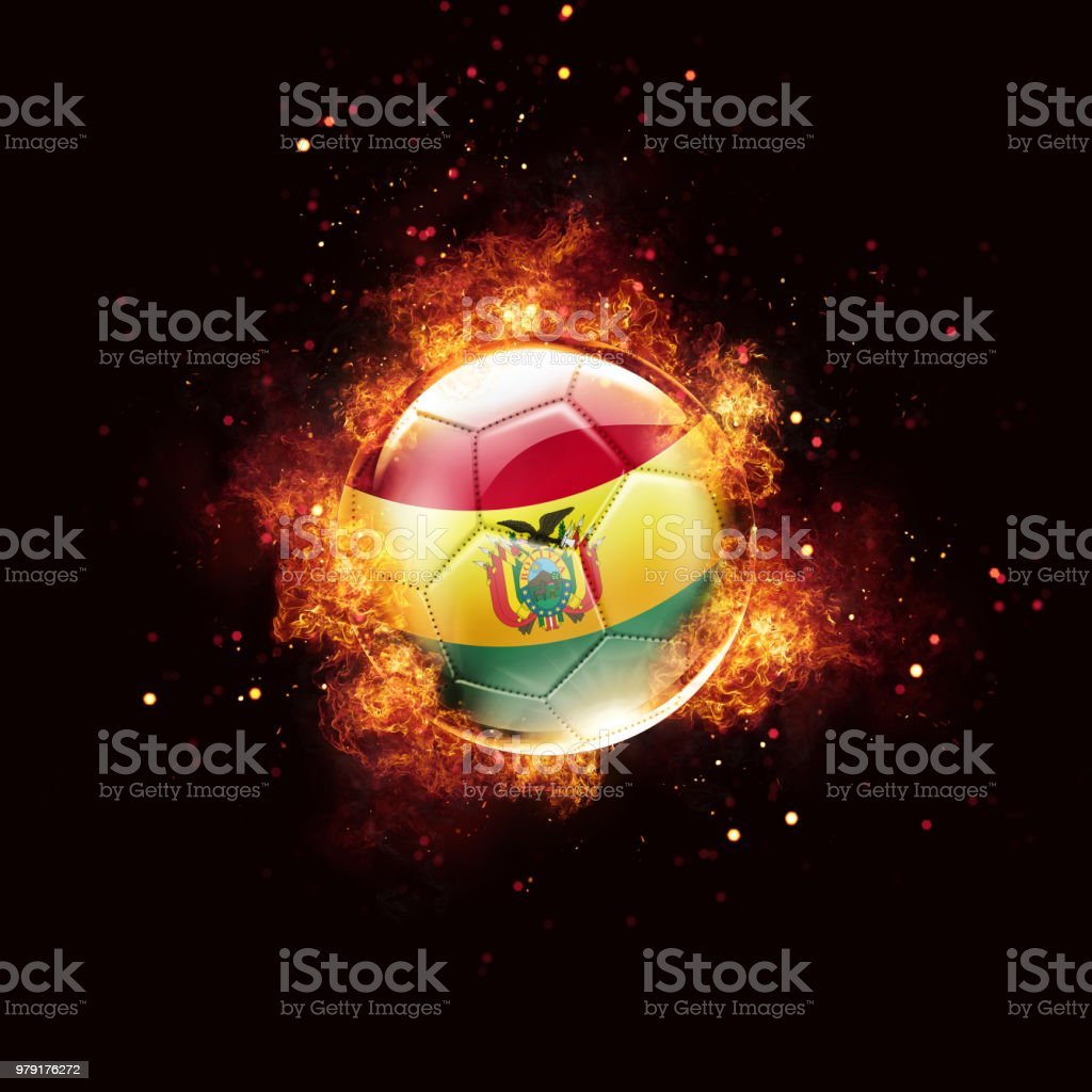 Bolivia flag soccer ball with flames and fire isolated on black stock photo