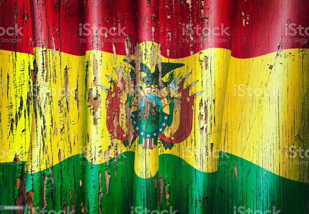 Bolivia grunge bolivian flag on wooden old door stock photo