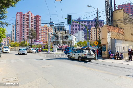 La Paz Bolivia September 17, station of arrival of the white line of the cable car. This is the longest cable car system in the world. Shoot on September 17, 2019