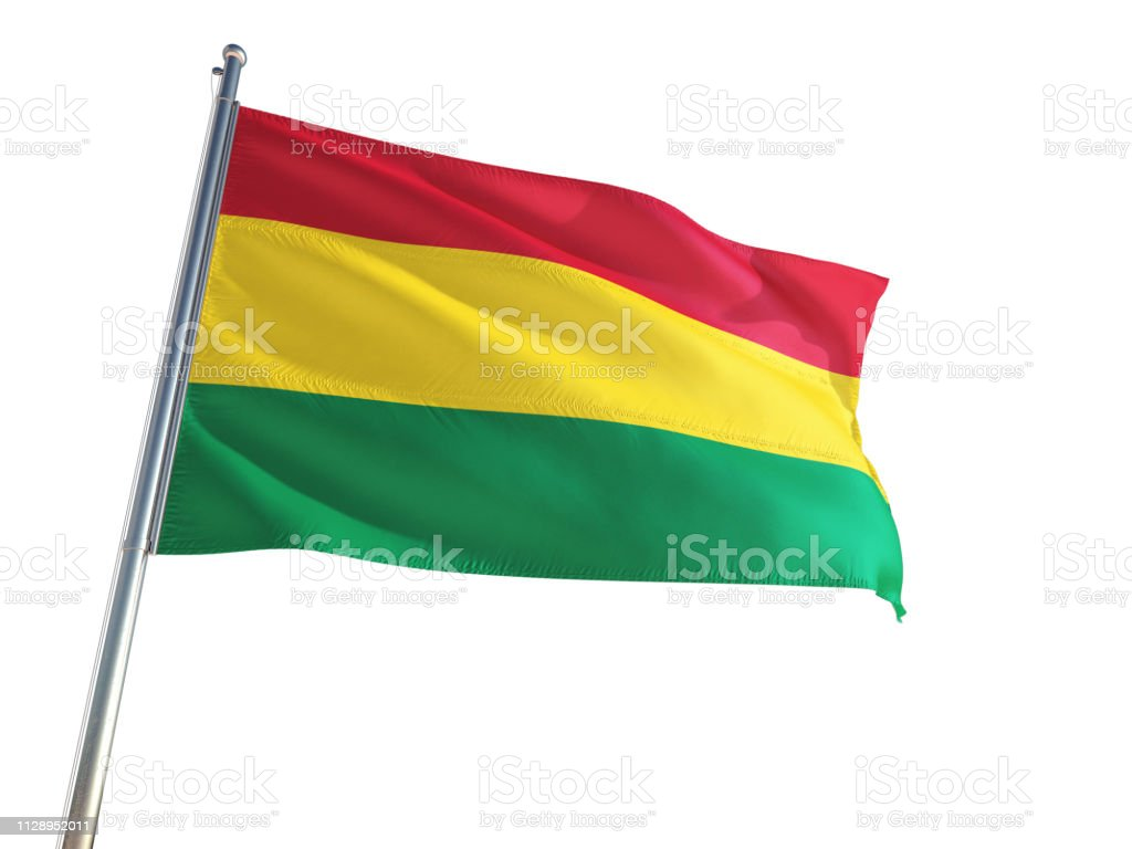 Bolivia National Flag waving in the wind, isolated white background. High Definition stock photo
