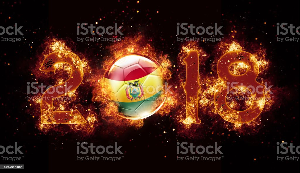 Bolivia soccer ball flying with flames and fire year 2018 stock photo