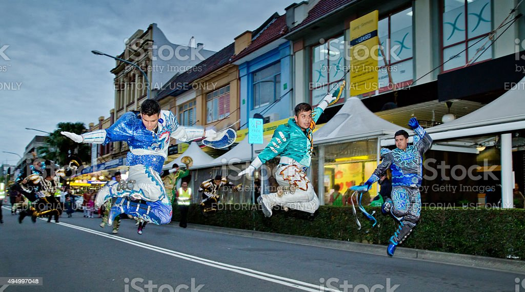 Bolivian dancers at a multicultural festival in Sydney stock photo