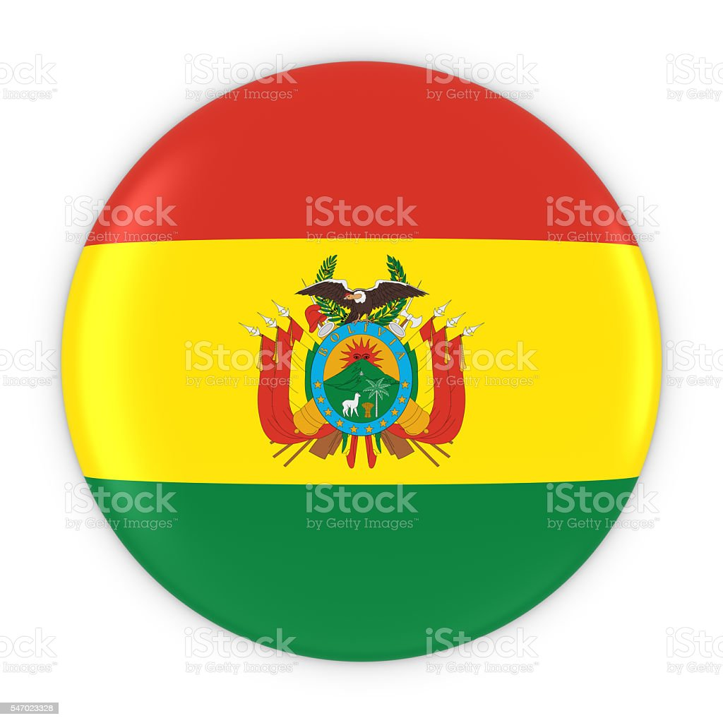 Bolivian Flag Button - Flag of Bolivia Badge 3D Illustration stock photo
