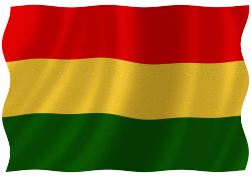 Flag of bolivia waving with highly detailed textile texture pattern