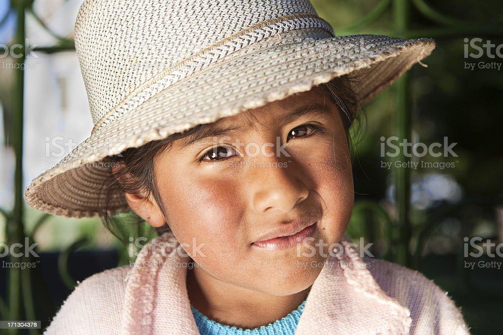 Bolivian girl in national clothing, Copacabana, Bolivia stock photo