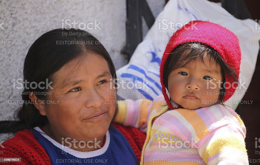 Bolivian mother and child stock photo