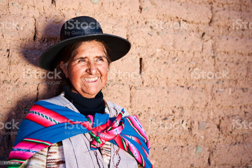 Bolivian woman in national clothing near Oruro, Bolivia stock photo
