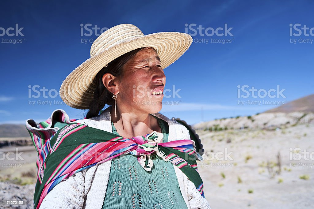 Bolivian woman in national clothing near Oruro, Bolivia stock photo