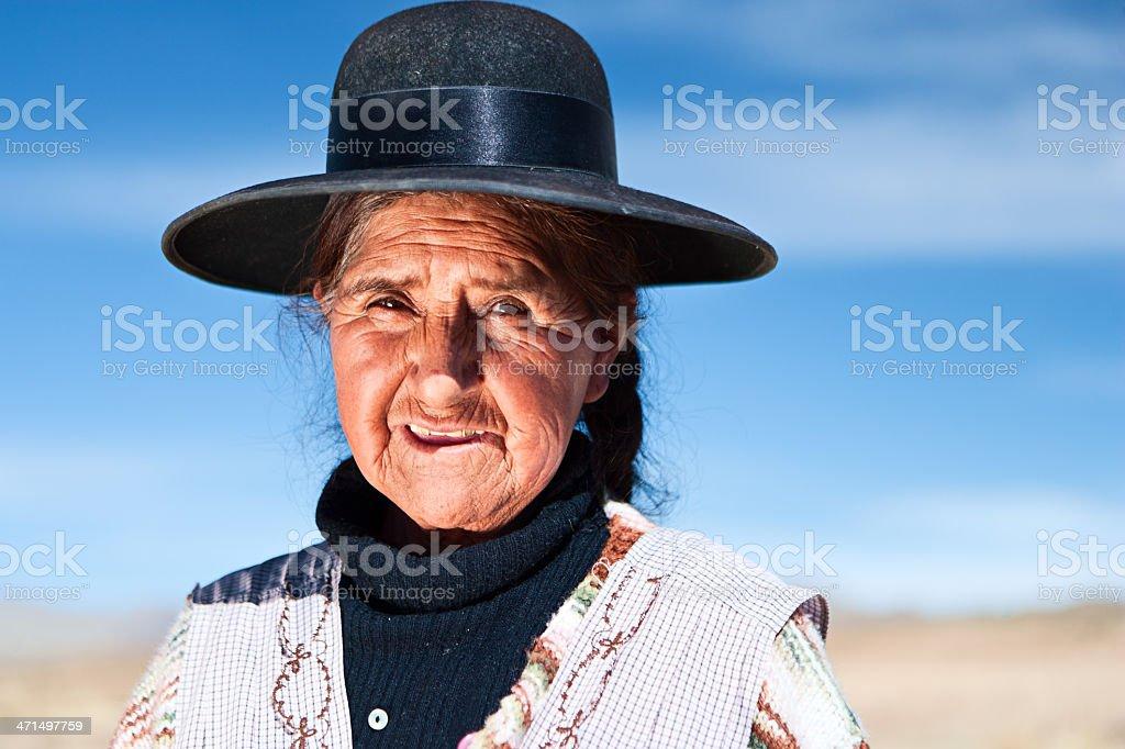 Bolivian woman in national clothing near Oruro, Bolivia royalty-free stock photo