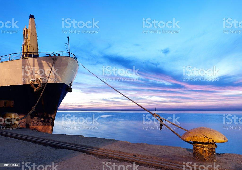 bollard and ship royalty-free stock photo