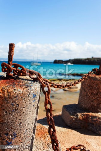 istock Bollards and chain 148365182
