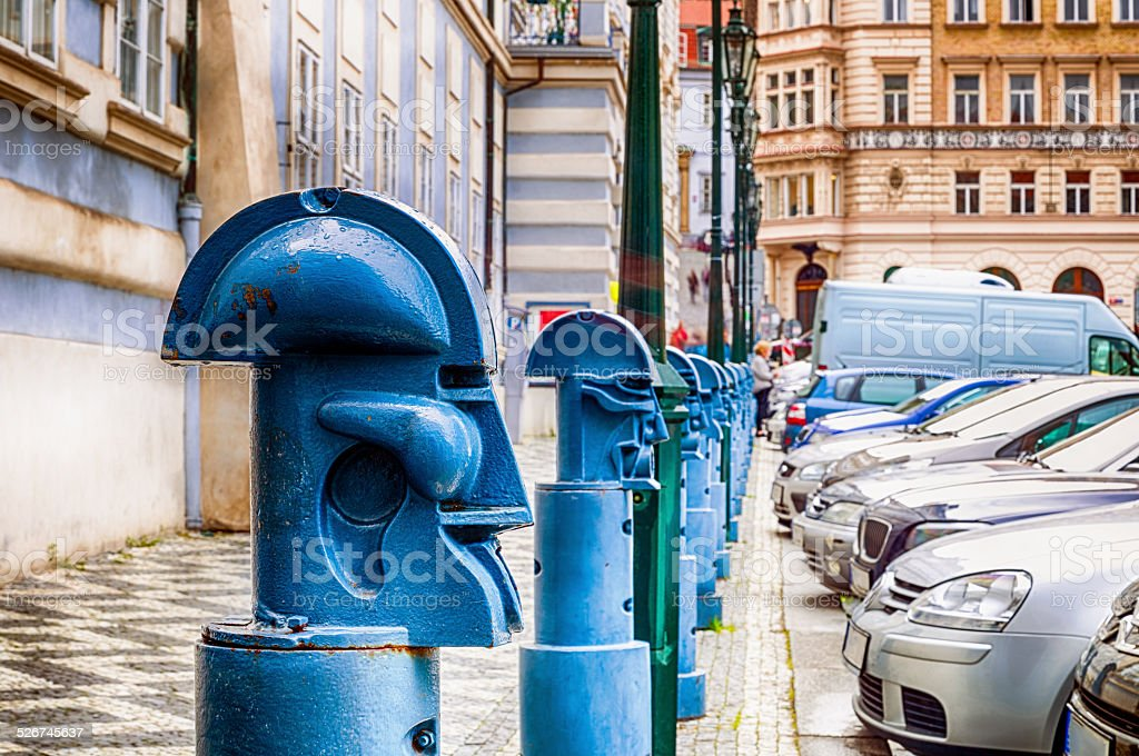 Bollards in Malostranske namesti in Prague stock photo