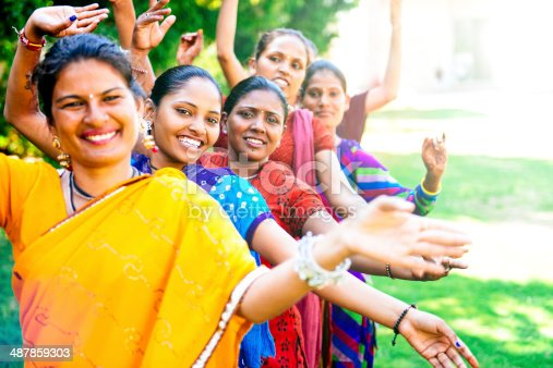 Group of Indian women rehearsing a Bollywood dance.