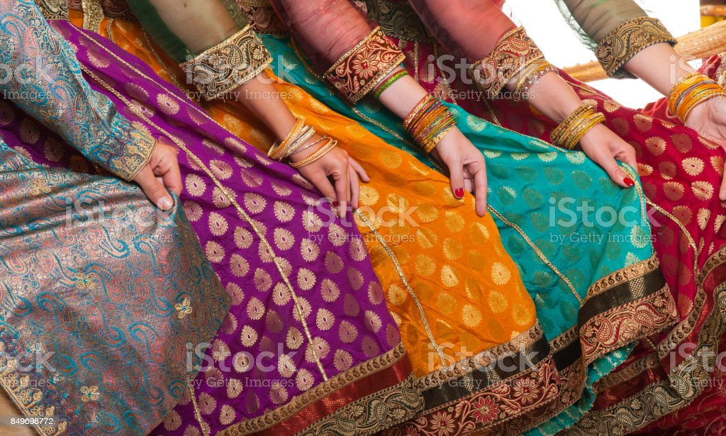 Bollywood dancers dress stock photo
