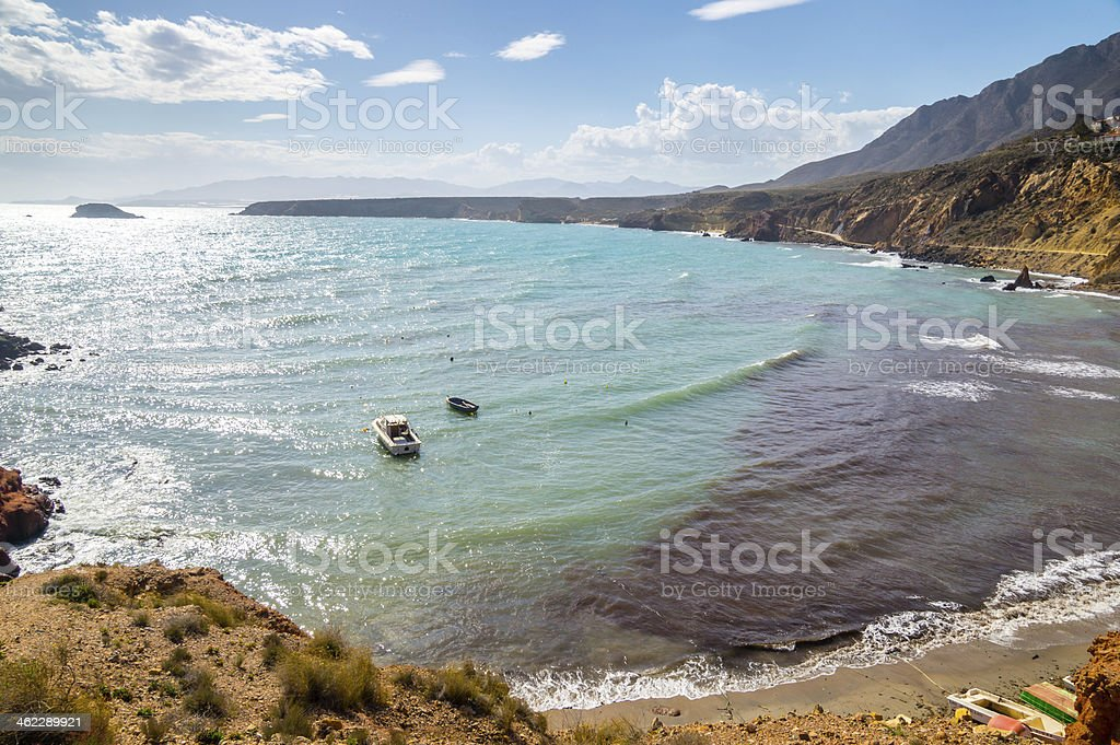 Bolnuevo beach in Mazarron, Murcia, Spain stock photo