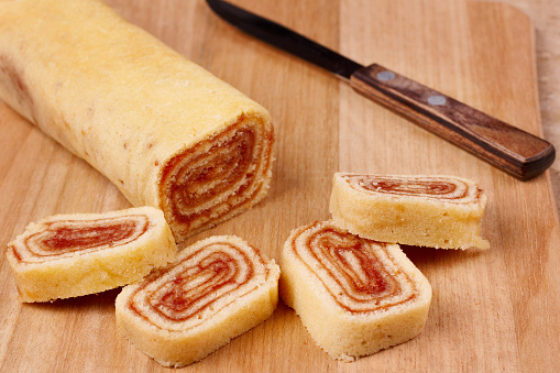 Bolo de rolo (swiss roll, roll cake) Brazilian dessert