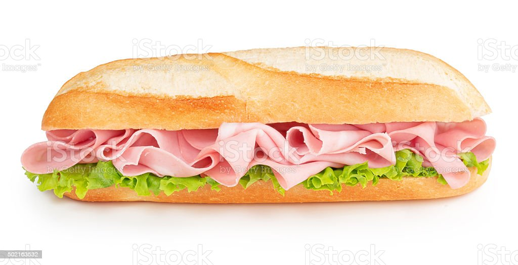 bologna and lettuce sandwich stock photo