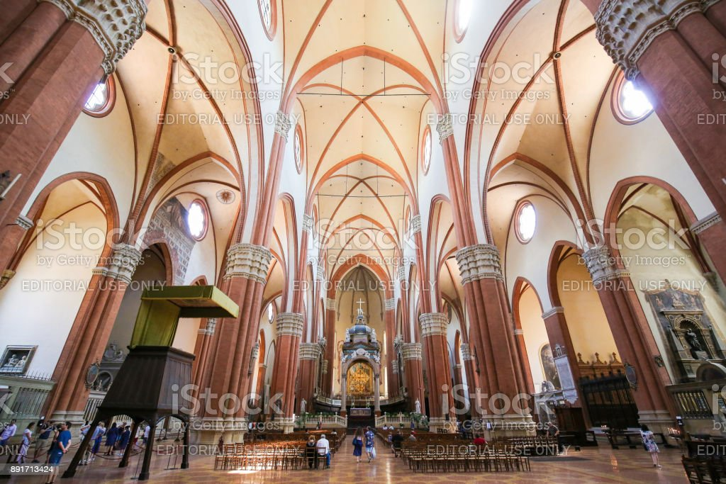 Bologna, Italy - Interior of Basilica of San Petronio stock photo