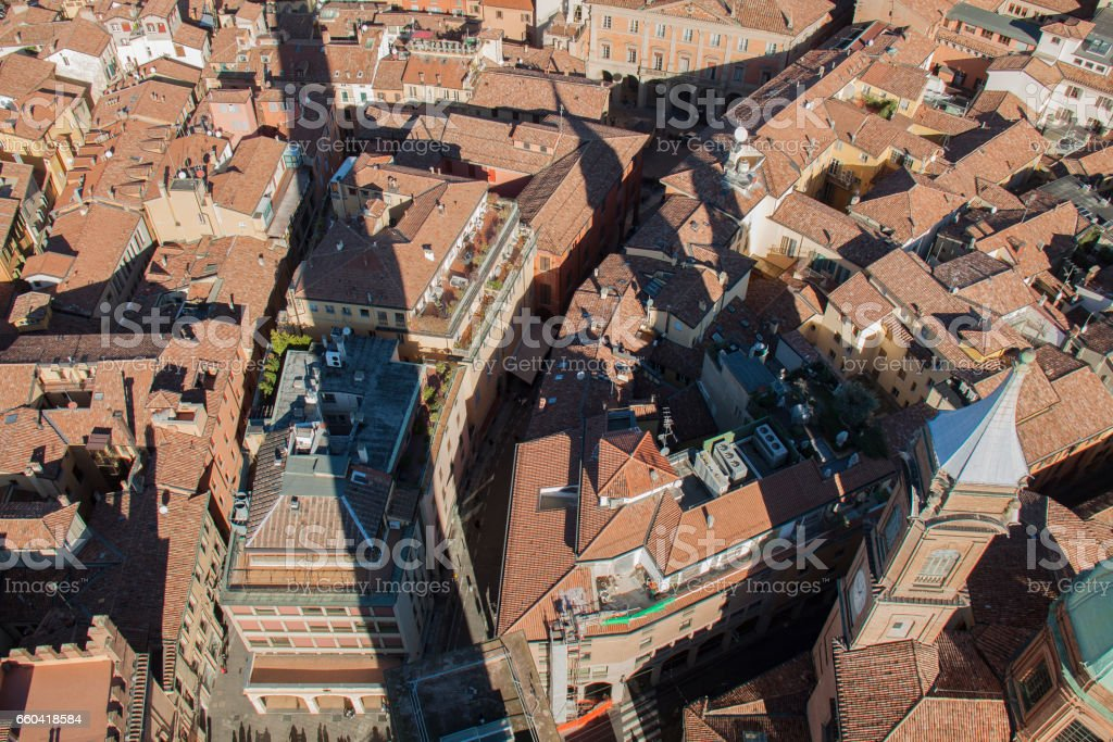 Bologna panorama extremley detailed, historic city стоковое фото