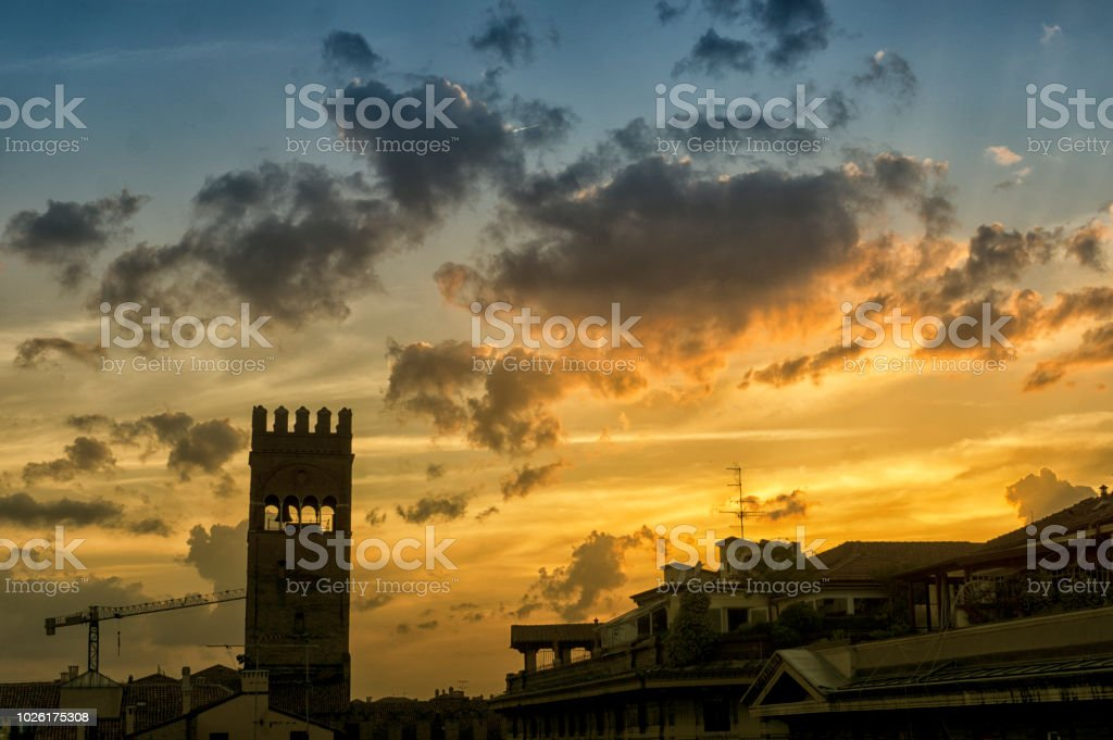 Bologna roof tops at night stock photo