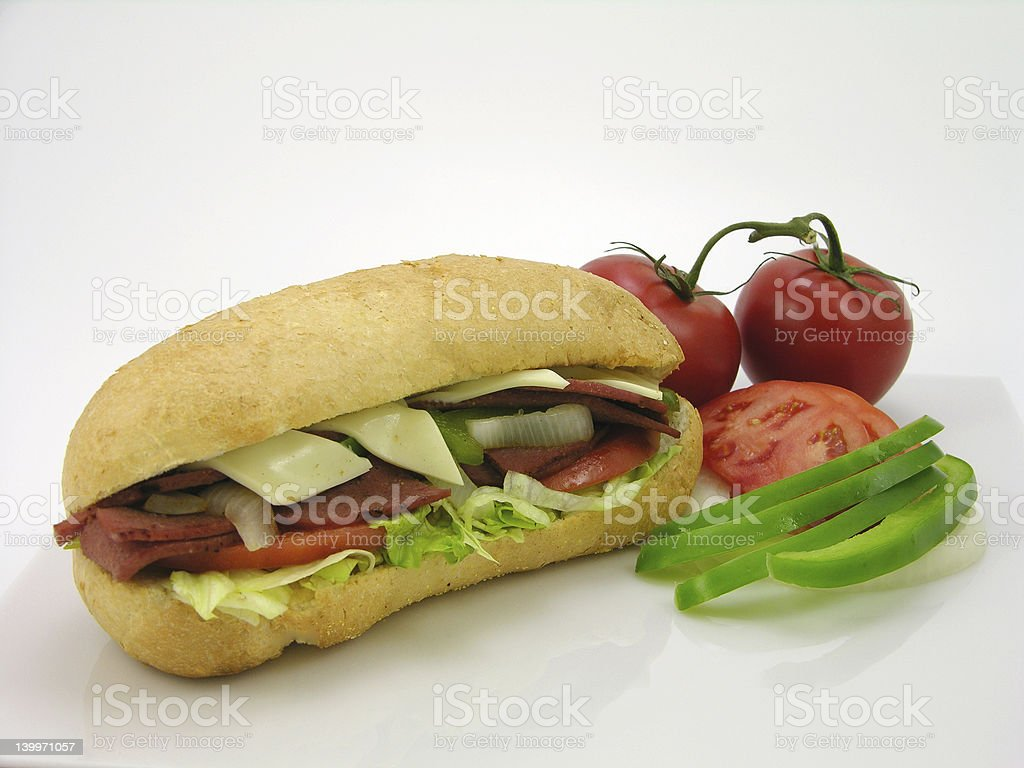 bologna sandwich & tomato royalty-free stock photo
