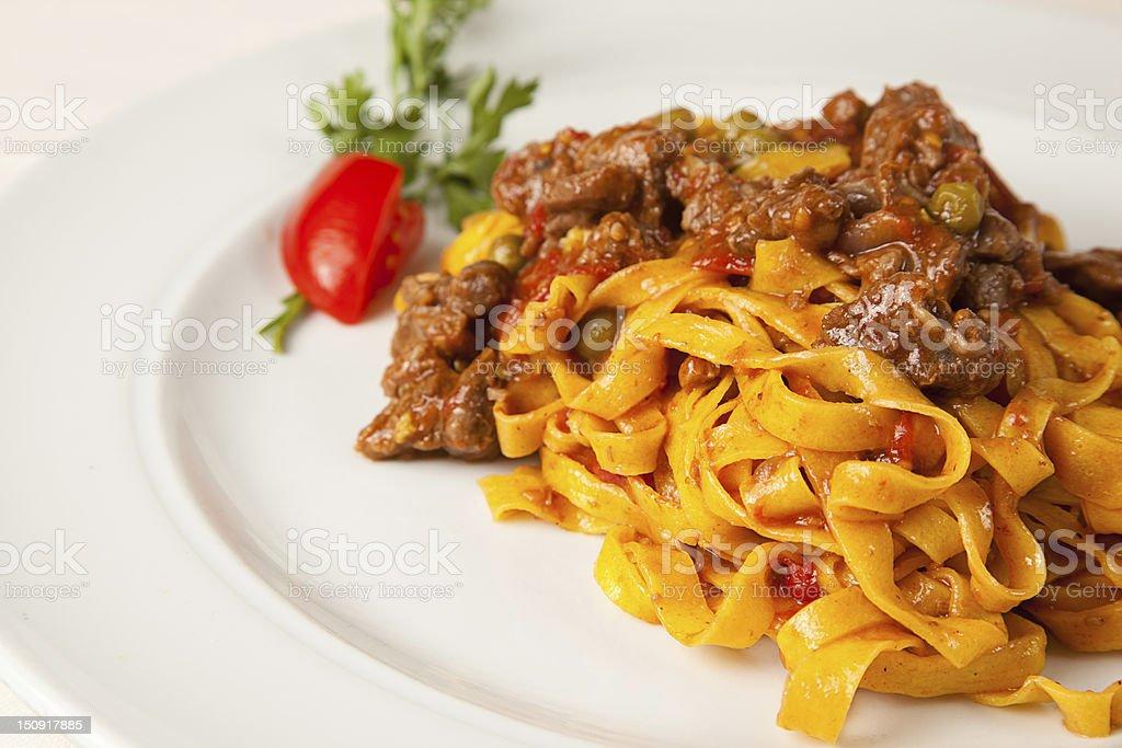 Bolognaise sauce and italian pasta tagliatelle stock photo