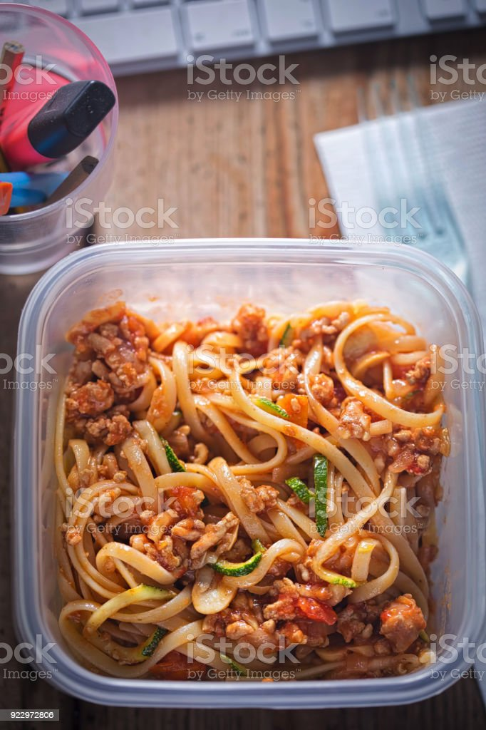 Bolognese pasta and courgette spaghetti. Office lunch box.