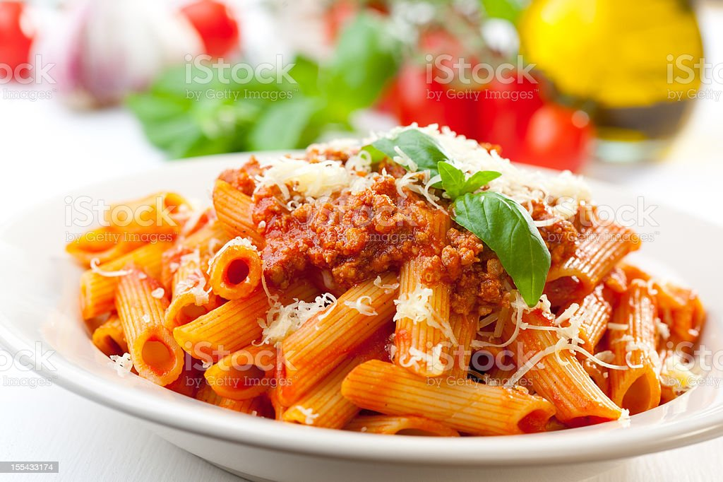 Penne bolognese stock photo