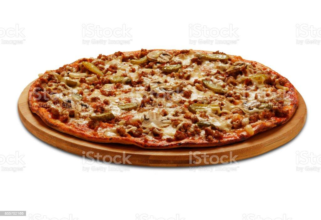 Bolognese pizza with cornichon and champignons. stock photo