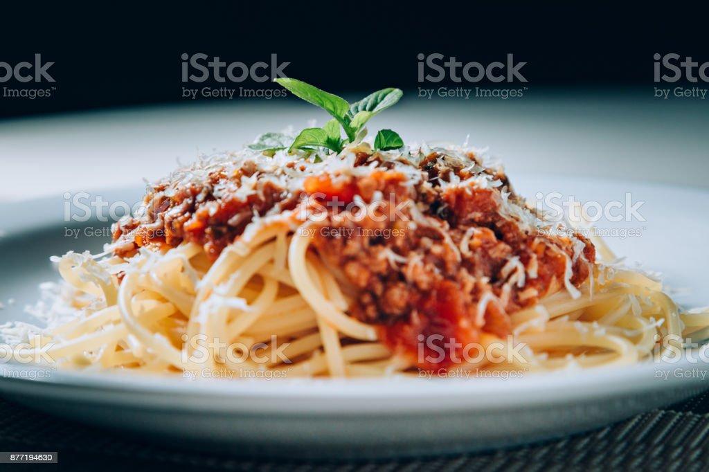Bolognese sauce pasta stock photo