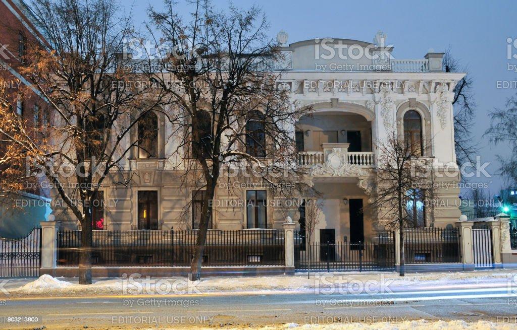 Bolshaya Krasnaya Street, house 47, an office building. An old house after a modern renovation, stucco decorations are modern, modern design. stock photo