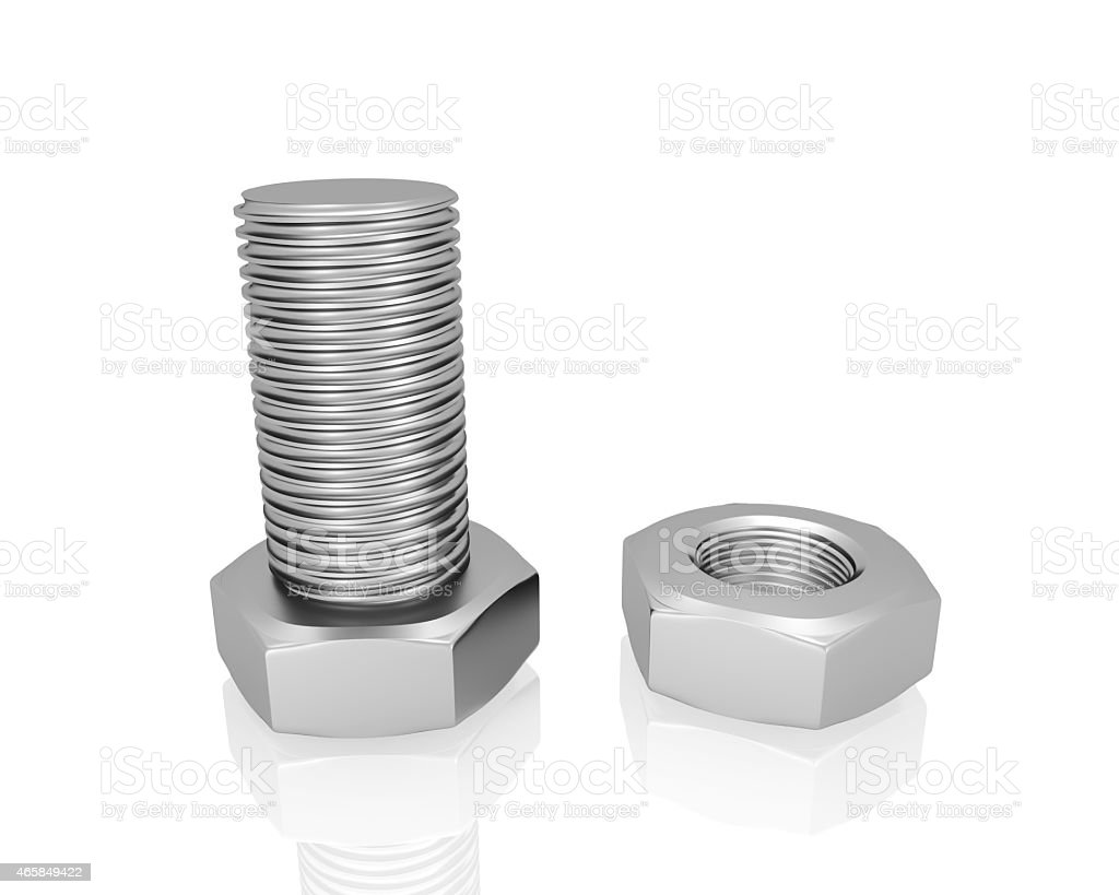 bolt and screw nut  isolated on white background stock photo