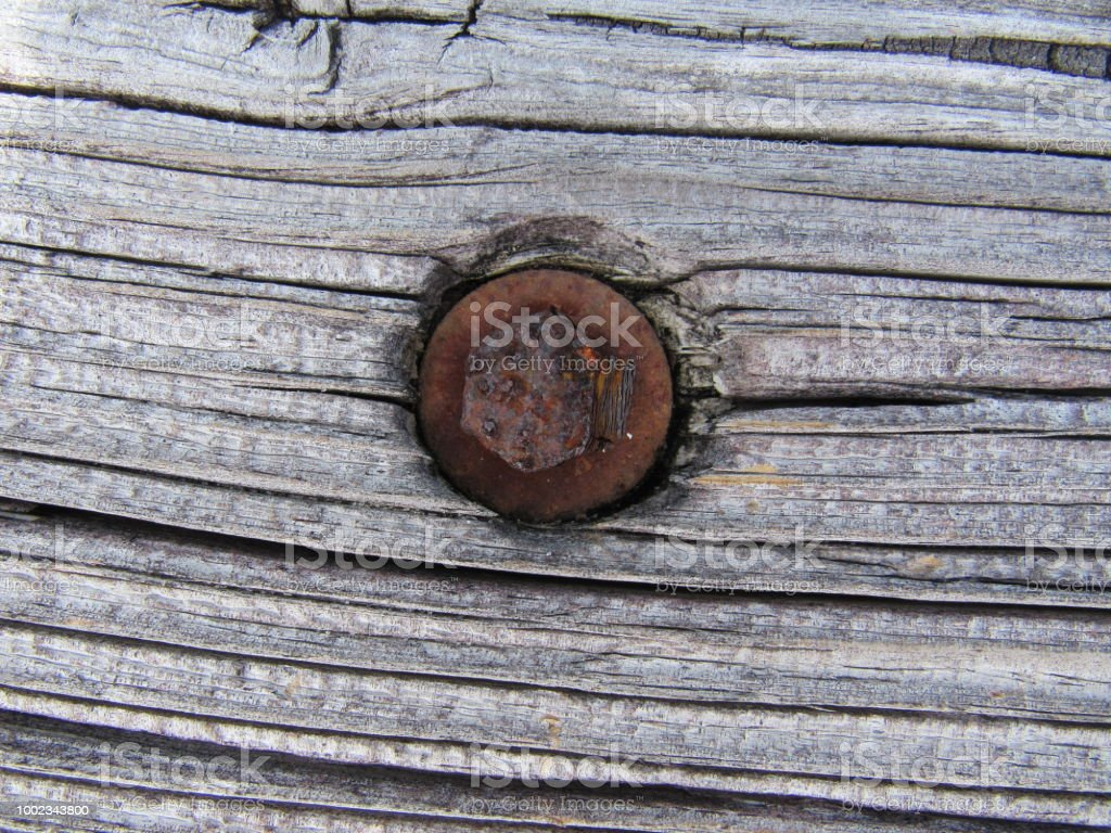 Bolt in Wood stock photo