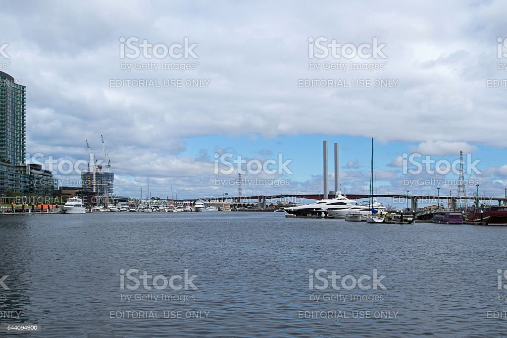 Bolte Bridge from the Melbourne Docklands in Melbourne, Victoria stock photo